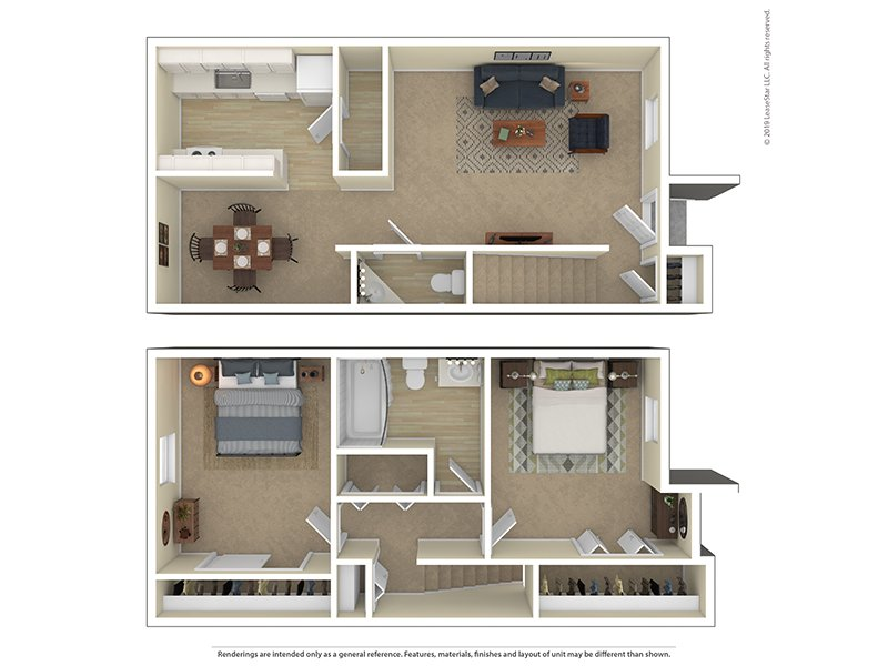 View floor plan image of Townhouse 2 Bedroom 1 Bathroom apartment available now