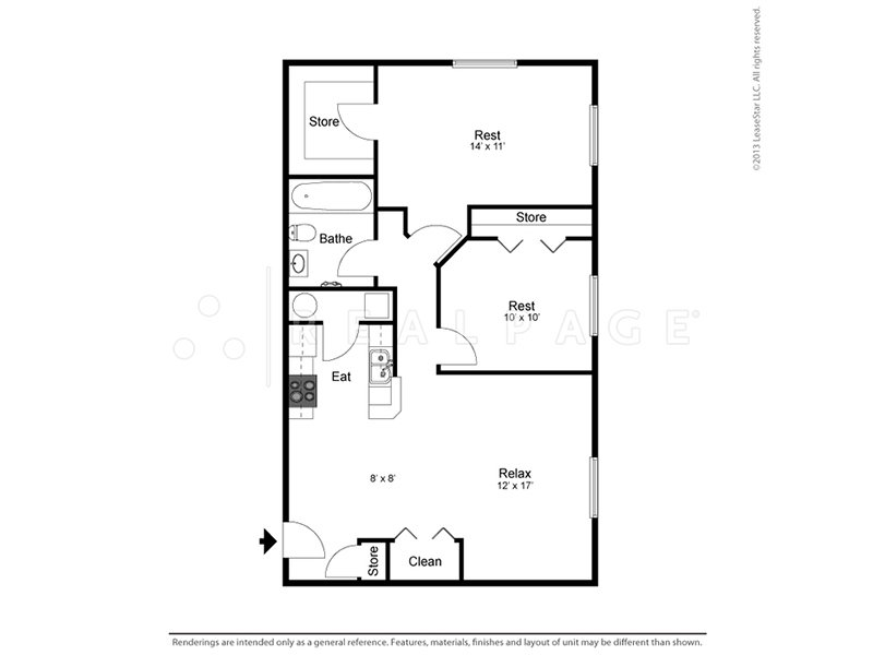 View floor plan image of 2 Bedroom 1 Bathroom apartment available now