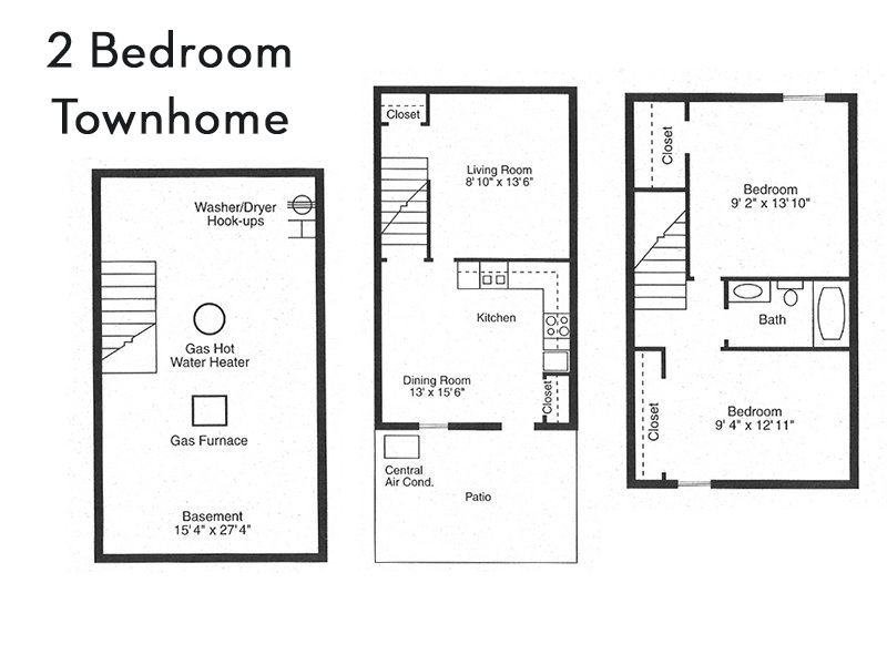 View floor plan image of 2 Bedroom Townhome apartment available now