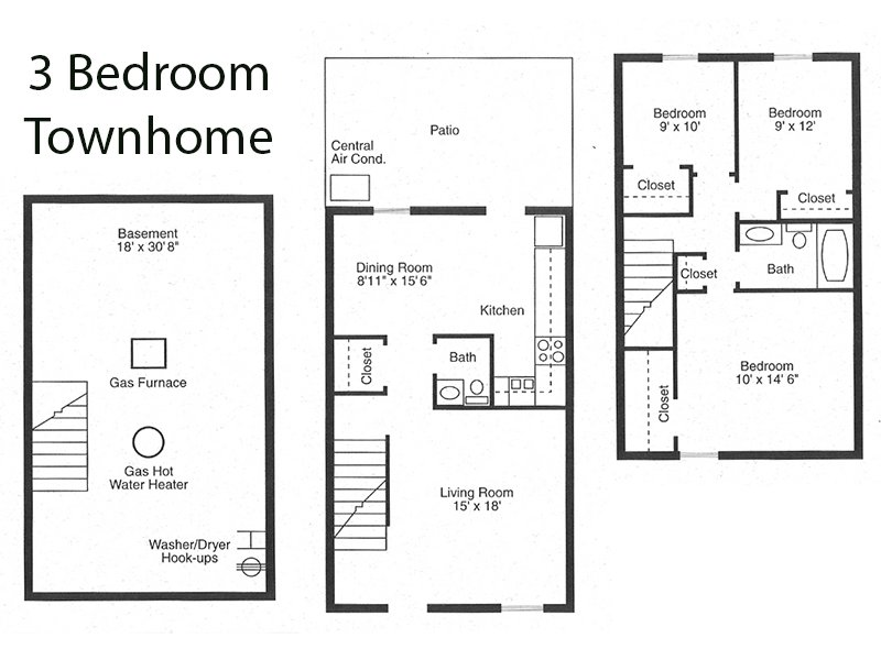 3 Bedroom Townhome apartment available today at Sharon Green Townhomes in Columbus