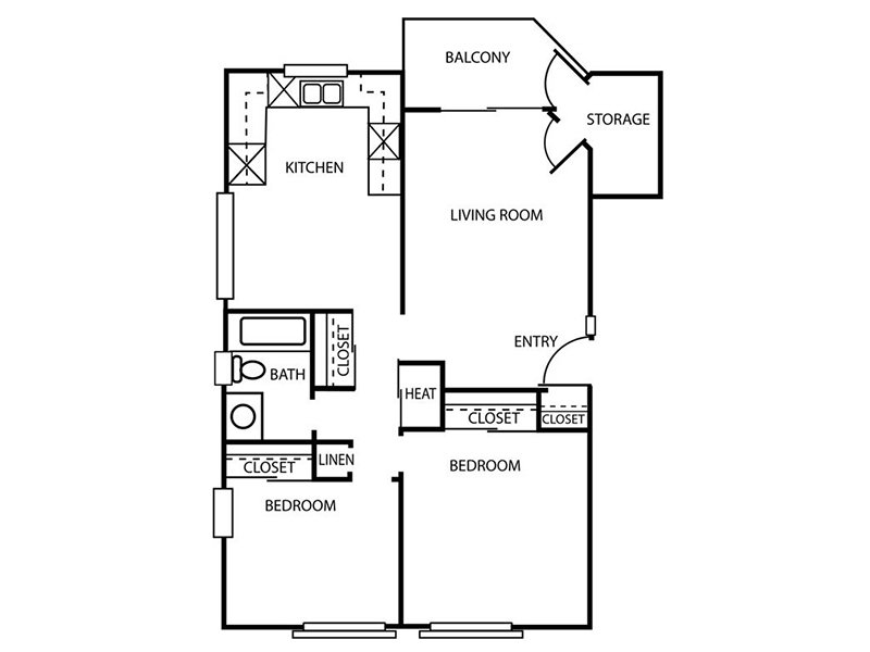 View floor plan image of 2 Bedroom apartment available now