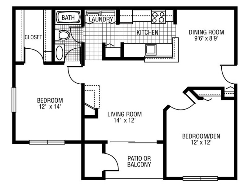 View floor plan image of B-1 apartment available now