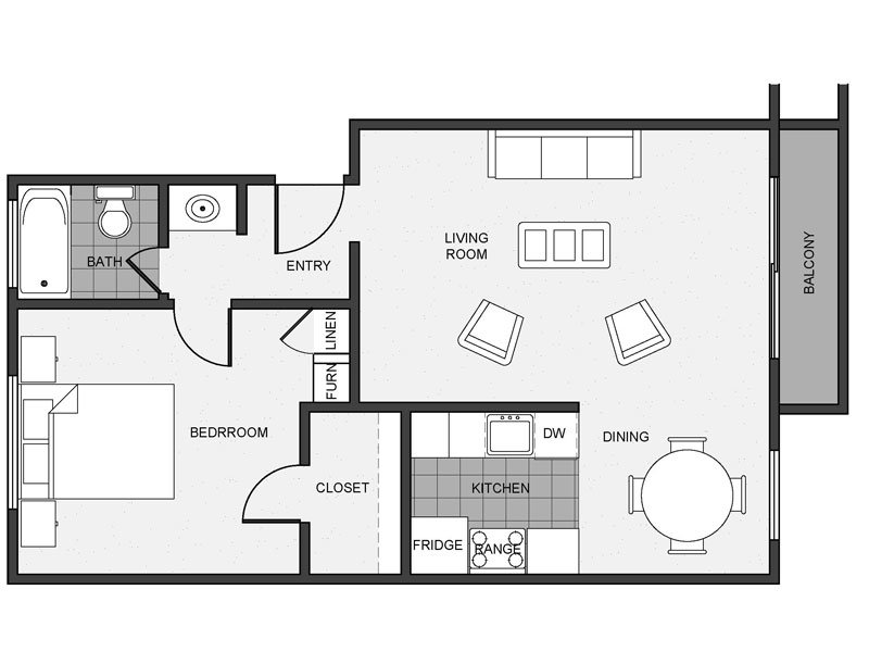 View floor plan image of 1 Bed 1 Bath Renovated apartment available now