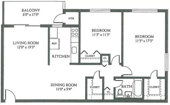Fort Chaplin Park Apartments Floor Plan 2 Bedroom