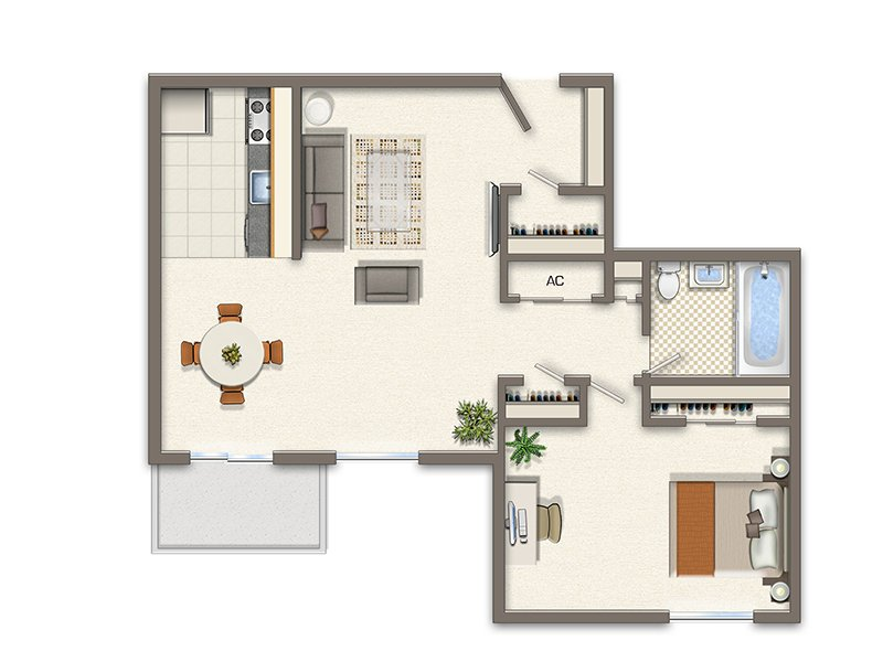 Park Tanglewood Apartments Floor Plan 1 Bedroom
