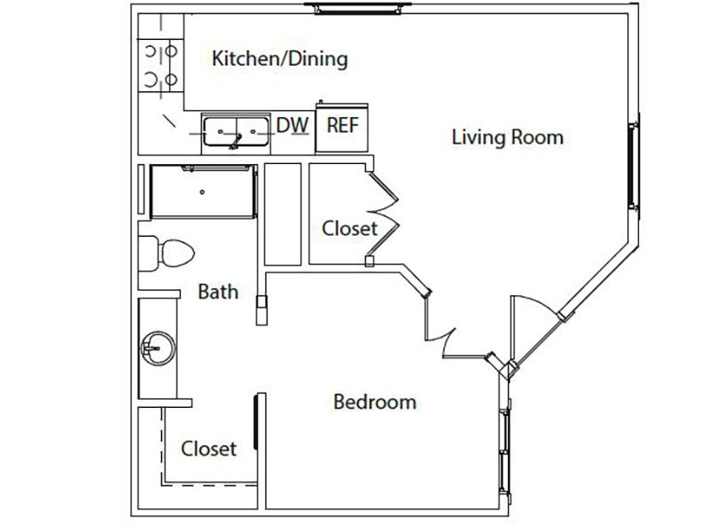 Hillside Senior Living Apartments Floor Plan 1 Bedroom