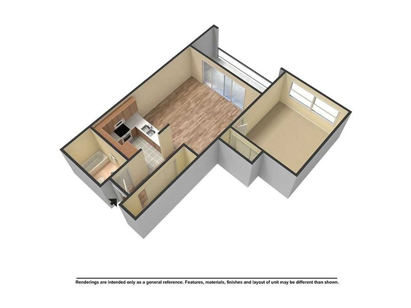 View floor plan image of 1 Bedroom 1 Bath apartment available now