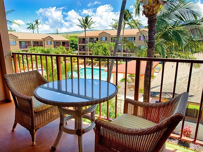 Balcony | Sunset Terrace Apartments in Lahaina, HI
