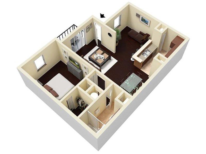 Reserve at Conway Apartments Floor Plan 1 Bedroom 1 Bathroom B