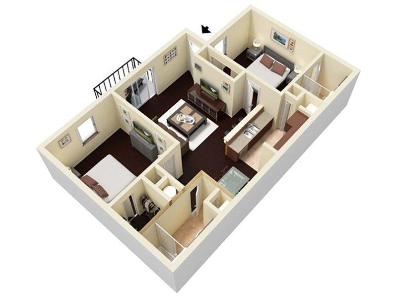 Reserve at Conway Apartments Floor Plan 2 Bedroom 2 Bathroom A