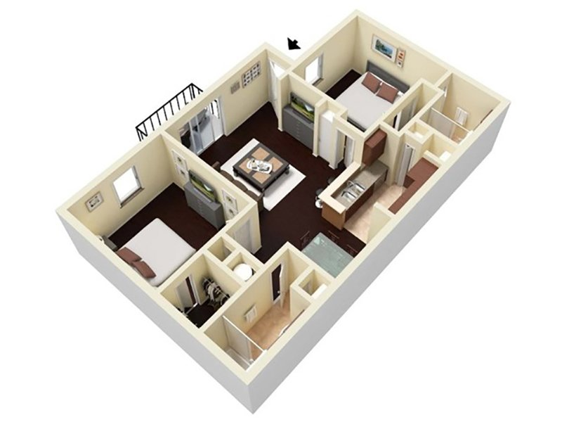 Reserve at Conway Apartments Floor Plan 2 Bedroom 2 Bathroom C