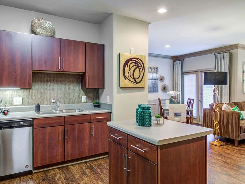 The modern kitchen has an island and stainless steel appliances at Eagle's Brooke Apartments in Locust Grove.