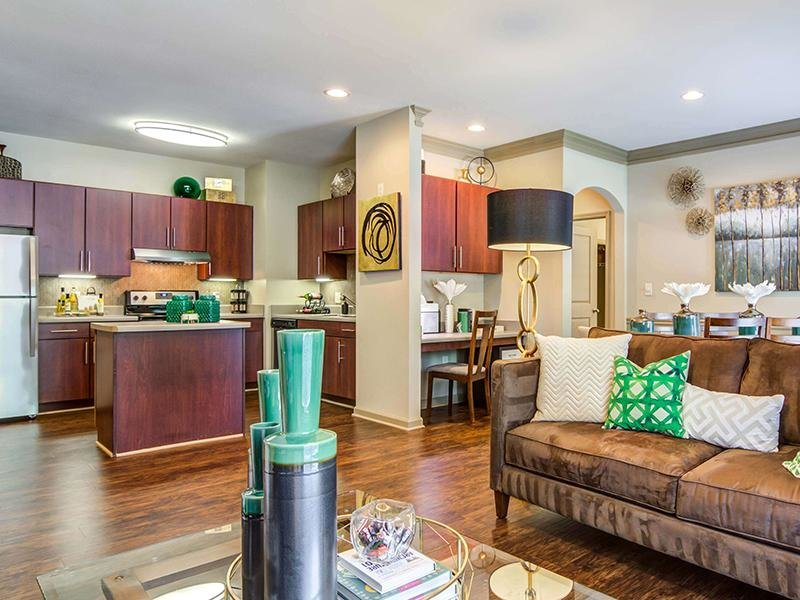 The open floor plans at Eagle's Brooke Apartments in Locust Grove show the living room, dining area and kitchen.