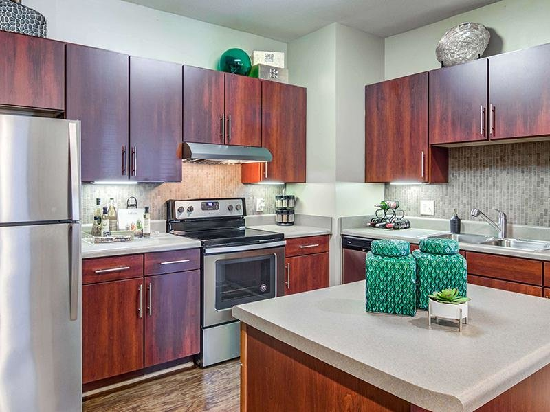 Modern stainless steel appliances in the kitchen surround an island at Eagle's Brooke Apartments.