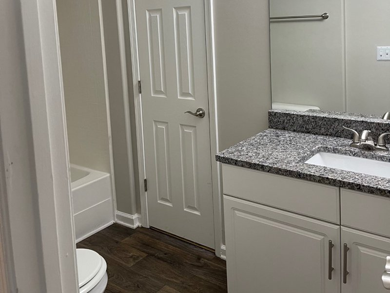 A model bathroom with wood-style flooring, tub shower, toilet and vanity sink at The Lakes at Town Center Apartments.