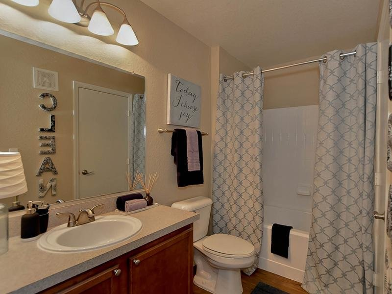 Apartment bathroom with a tub shower, toilet and vanity sink.