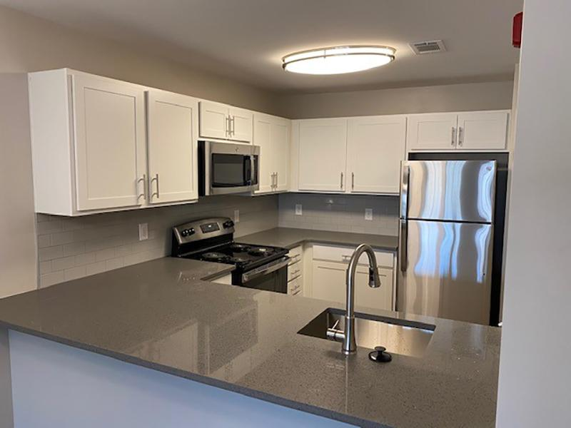 Model kitchen with wood-style flooring and stainless steel appliances at Retreat at Stonecrest Apartments.