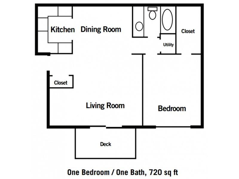 Village 1 Apartments Floor Plan 1 Bedroom 1 Bathroom