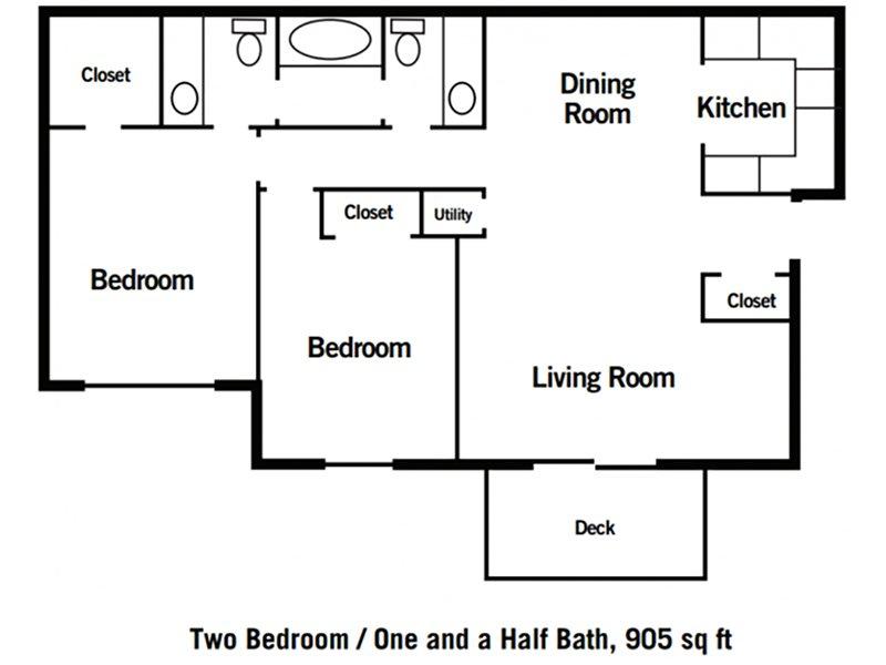 Village 1 Apartments Floor Plan 2 Bedroom 1.5 Bathroom