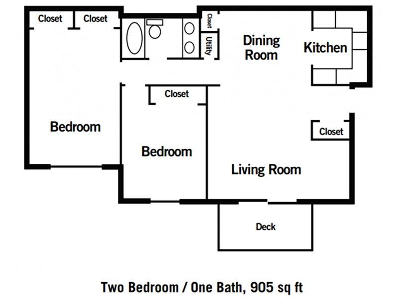 Village 1 Apartments Floor Plan 2 Bedroom 1 Bathroom