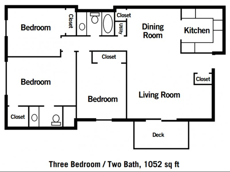 Village 1 Apartments Floor Plan 3 Bedroom 2 Bathroom