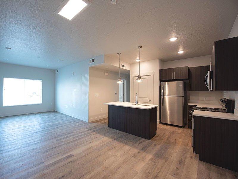 Living Room and Kitchen   Ogden Flats Apartments in Ogden, UT