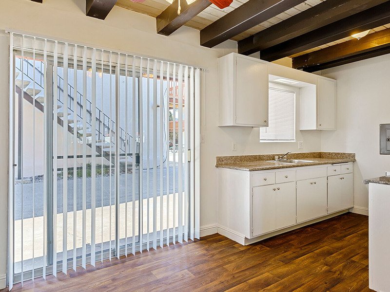 Kitchen & Balcony | Manchester Apartments