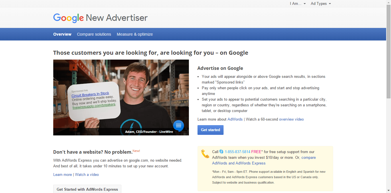 Google Ads Home Page 1 - Free or Low Cost Traffic for Your Website