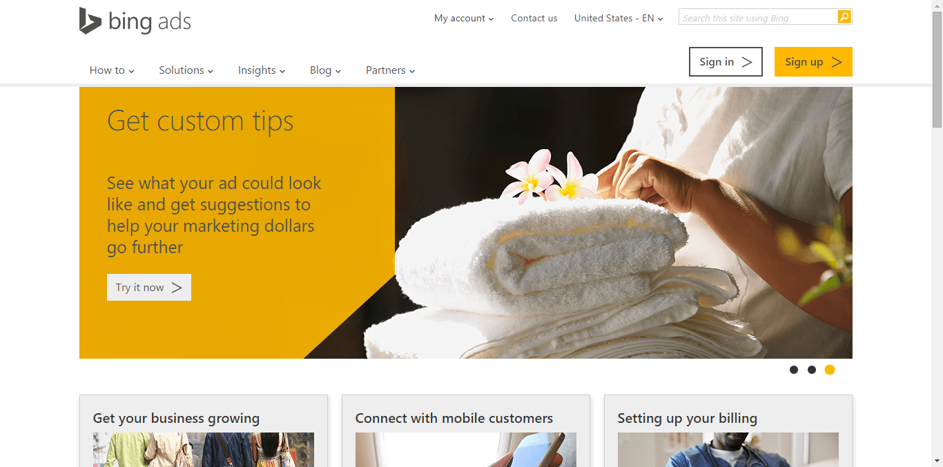 Bing Ads Home Page Shot - Free or Low Cost Traffic for Your Website