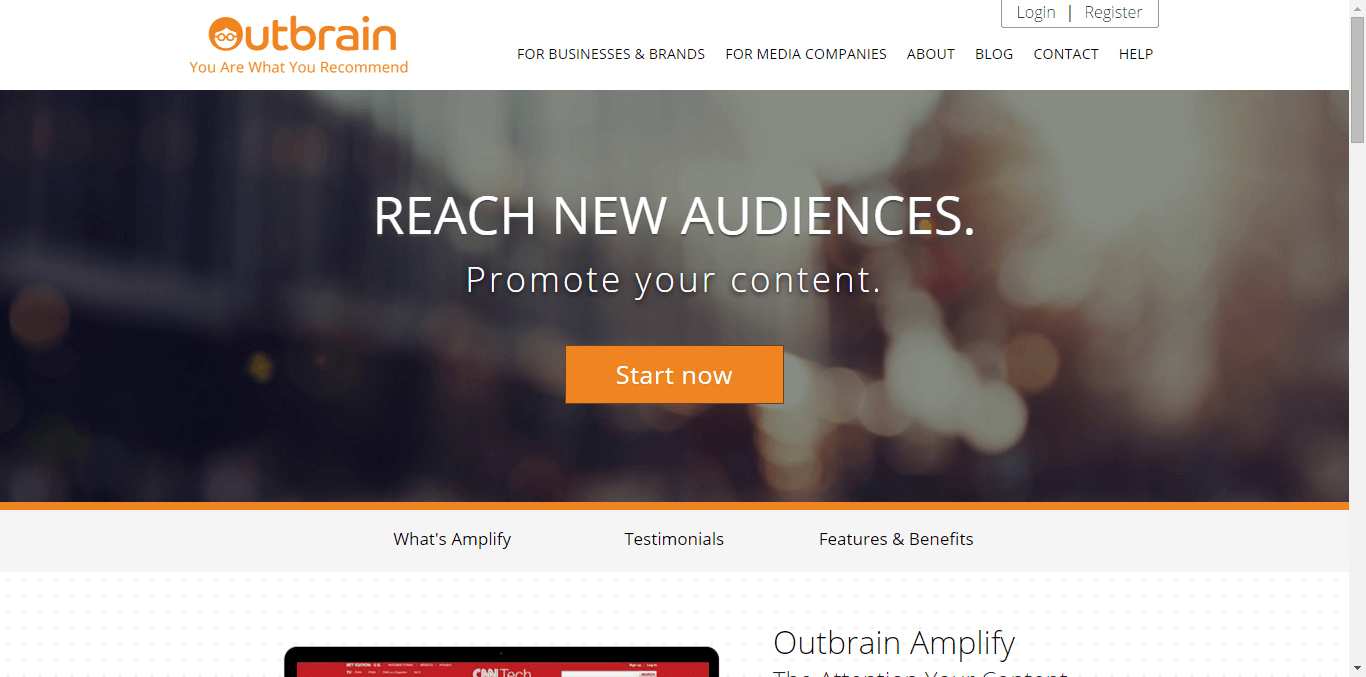 Outbrain Amplify Home Page - Free or Low Cost Traffic for Your Website