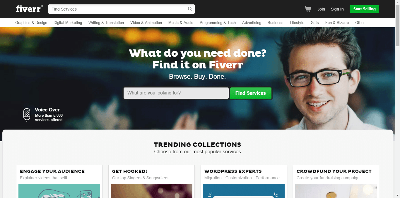fiverr home page shot - Free or Low Cost Traffic for Your Website