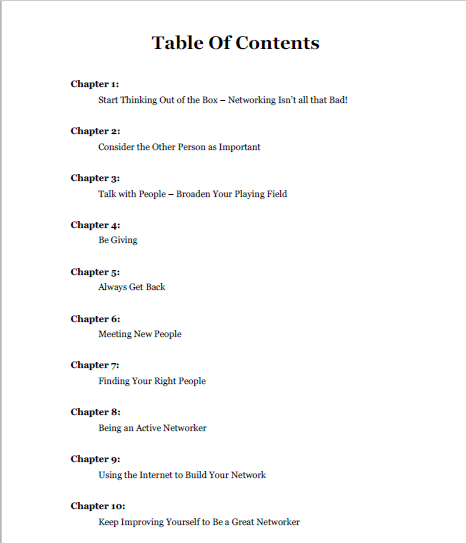 Networking eBook TOC - FREE TRAFFIC SOURCES SERIES PART THREE – GUEST POSTING