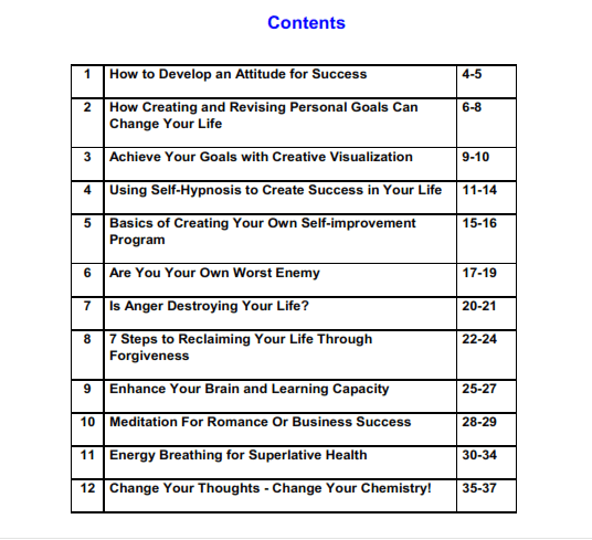 Table of Contents for eBook Achieving Serenity of Self