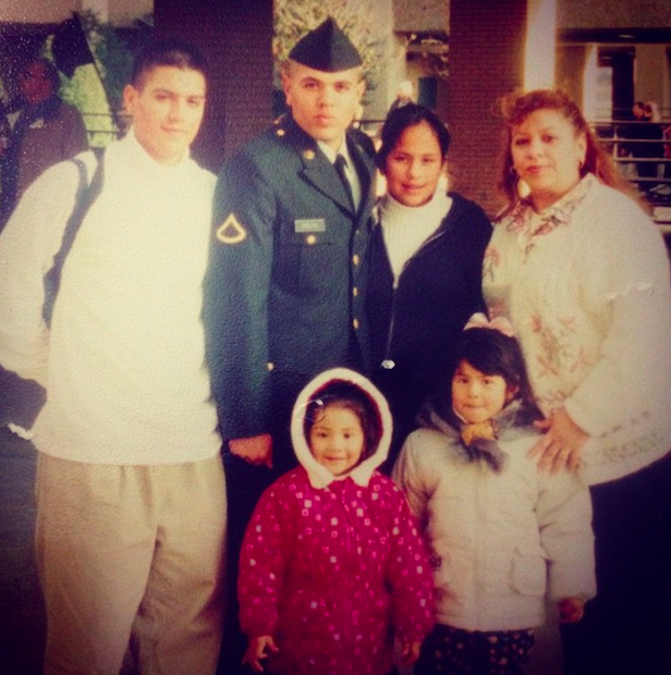 Private 1st Class David Molina with his mom, brothers and sisters, basic graduation, 2000