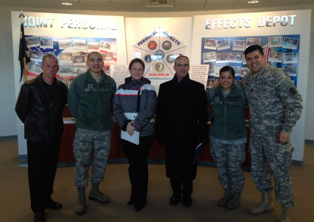 Capt David Molina with the protocol team, Joint Personal Effects Depot, Dover AFB, 2012