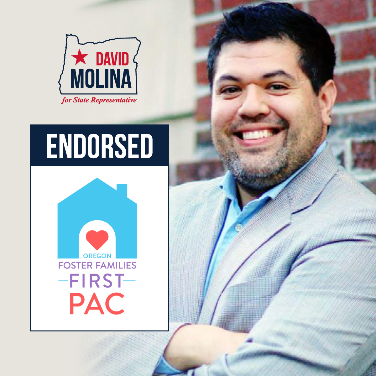 Leading advocates and champions for 11,000 of Oregon's most vulnerable foster children get behind David Molina for state representative