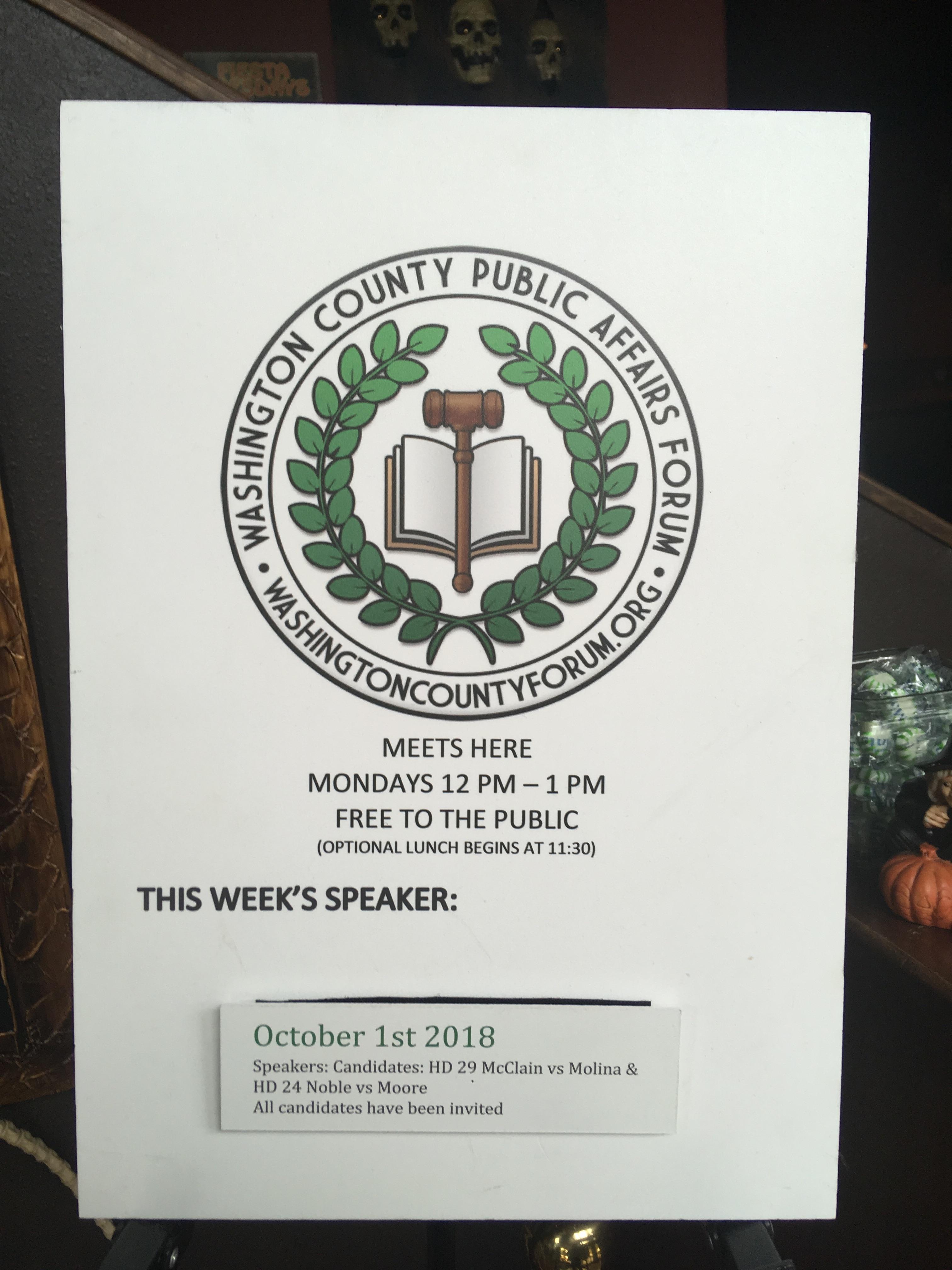 Forum: Washington County Public Affairs Forum Debate, McLain vs Molina