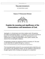 """NCFCA Apologetics Release #03: """"Transcendence"""""""