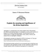 "NCFCA Apologetics Release #14: ""Divine Inspiration"""