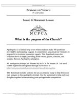 "NCFCA Apologetics Release #16: ""Purpose of Church"""