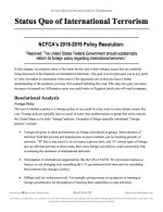 "NCFCA Policy Release #02: ""Status Quo International Terrorism"" (INFO)"