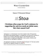 "Stoa Apologetics Release #13: ""What Caused God?"""