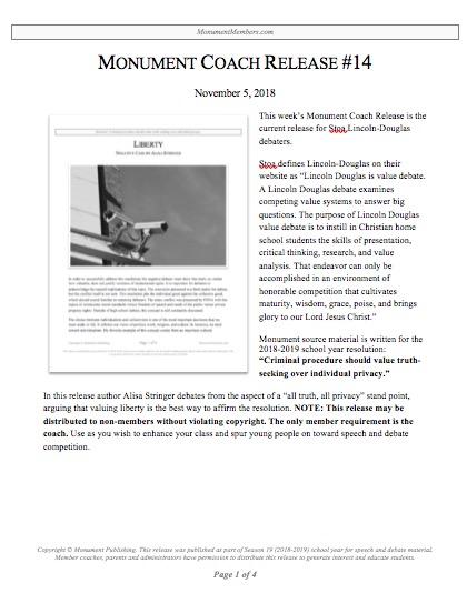"55cc89634 Coaches Release  14  ""Stoa Lincoln-Douglas"" - Monument Members"