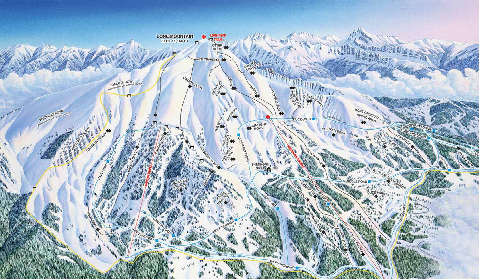 Big Sky Resort Big Sky Lodging Map on