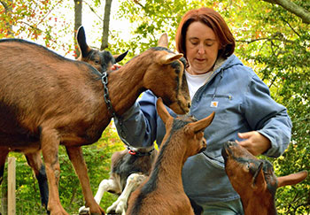 Barbara and goats