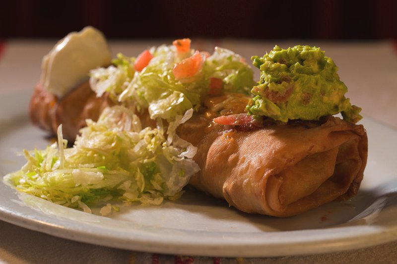 Chimichanga: Deep-fried, rolled flour tortilla with your choice of fillings