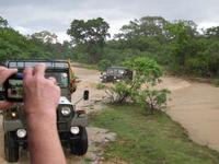 Overland vehicles cross muddy river in Sri Lanka