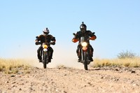 Two motorcycle riders explore South Africa on overland tour