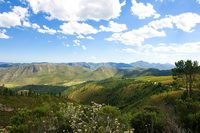 Blue sky above the green hills on the Garden Route South Africa