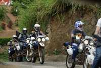 Sri Lanka dual sport motorcycle tour group on the road